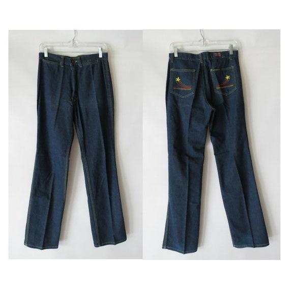 "1970's Jeans / 70's Flares / High Waisted Denim Jeans / Size Medium / 28"" Waist / Dark Wash / Embroidered Jeans / Hippie Jeans"