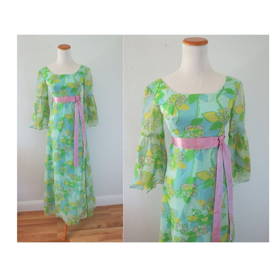 60s Maxi Dress Psychedelic Mod Floral Dress