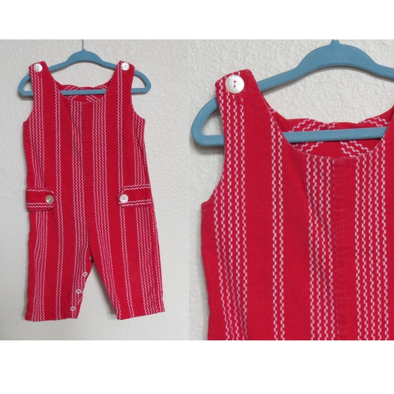 Vintage Baby Romper Red Corduroy Overalls