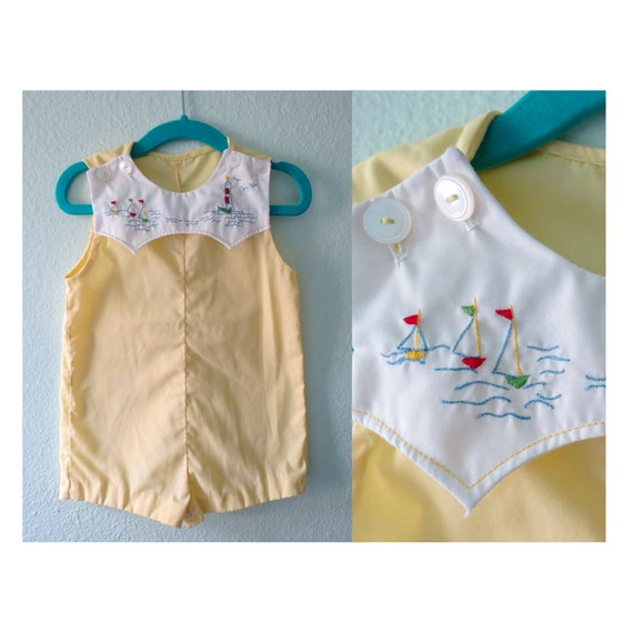 Vintage Baby Romper Yellow Boys Summer Outfit