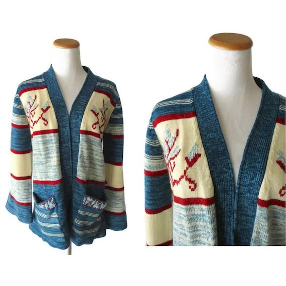 Space Dye Cardigan / 70's Wrap Sweater / 1970's Wrap Cardigan / Space Dyed Sweater / Bell Sleeve Sweater / Boho Cardigan / Hippie Sweater