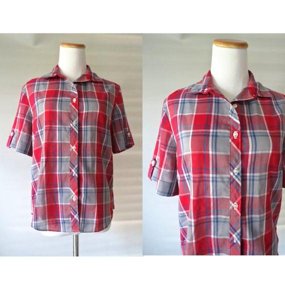Women's Plaid Blouse Vintage Thin Soft Button Up Plaid Top Red White Blue 1980's 80's Size Medium