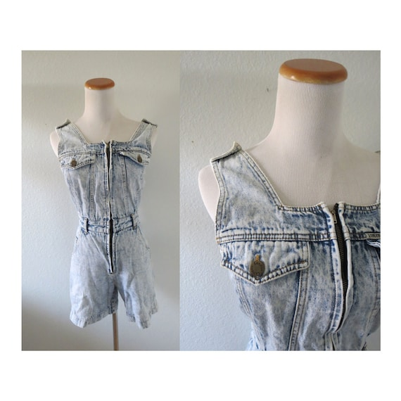 Denim Romper Vintage 80s Playsuit Acid Wash