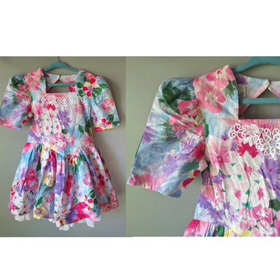 Girl's Floral Dress / Easter Dress / Size 6 / 1980's Floral Dress / Eyelet Ruffle Hem / Pastel Floral Dress / Girl's Spring Dress