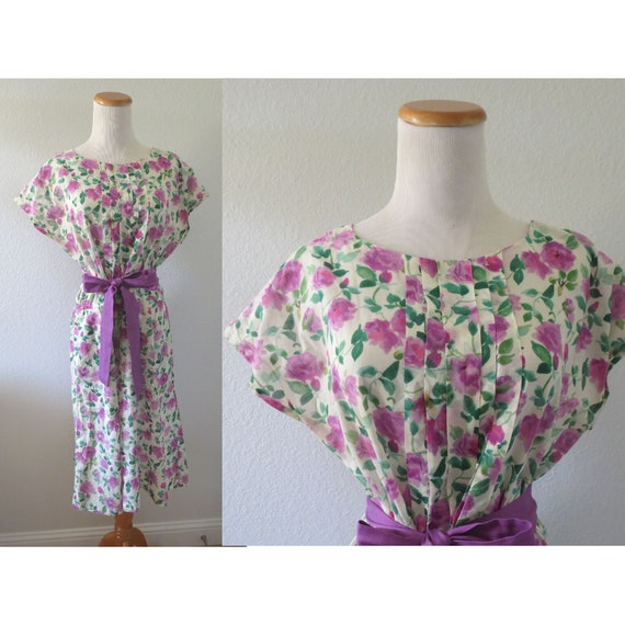 Watercolor Floral Dress 50s Day Dress