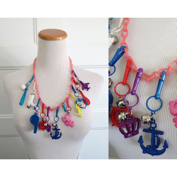 Vintage Bell Charm Necklace 80s Plastic Jewelry