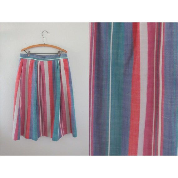 Rainbow Stripe Skirt Autumn Midi Skirt