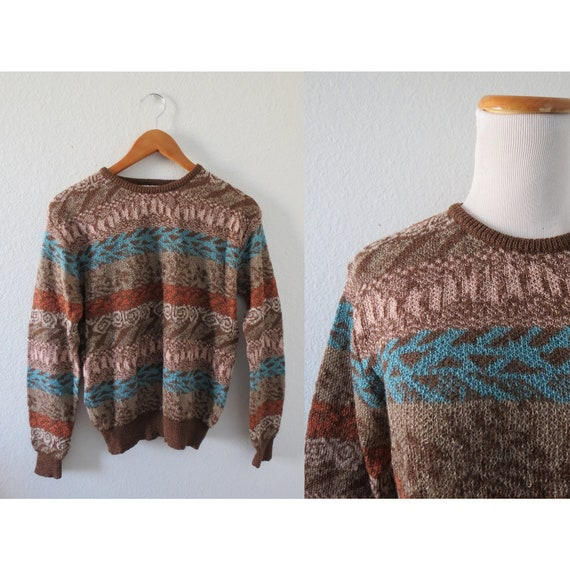 Boho Sweater 70s 80s Abstract Knit Pullover