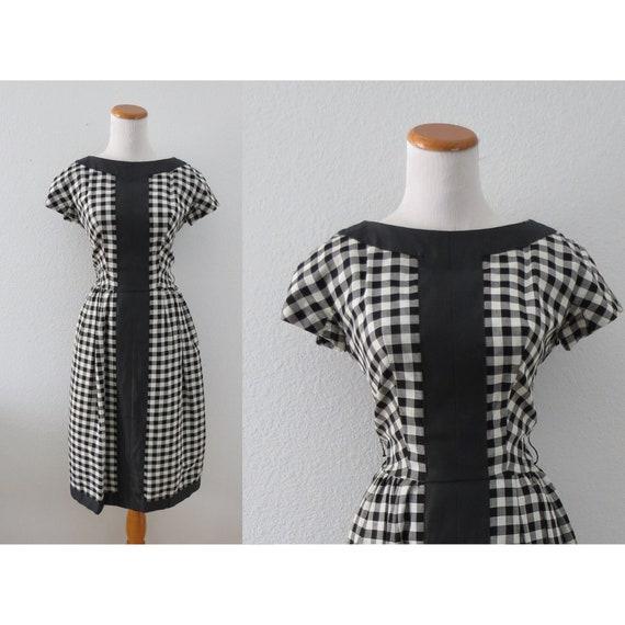 50s Gingham Dress 1950s Black and White Dress