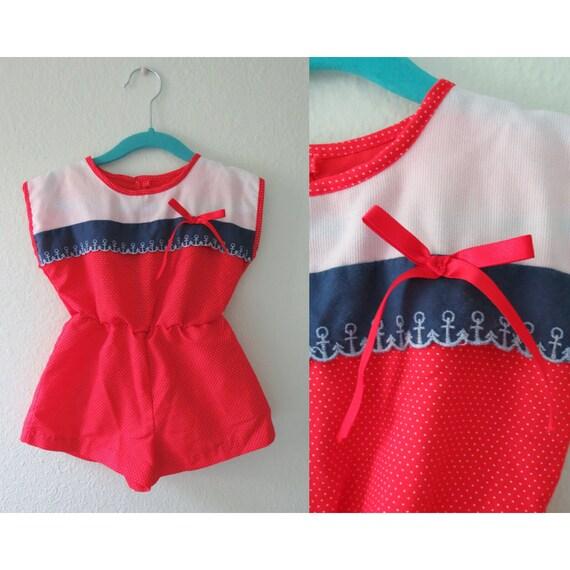 Vintage Toddler Romper Sailor Girl Outfit