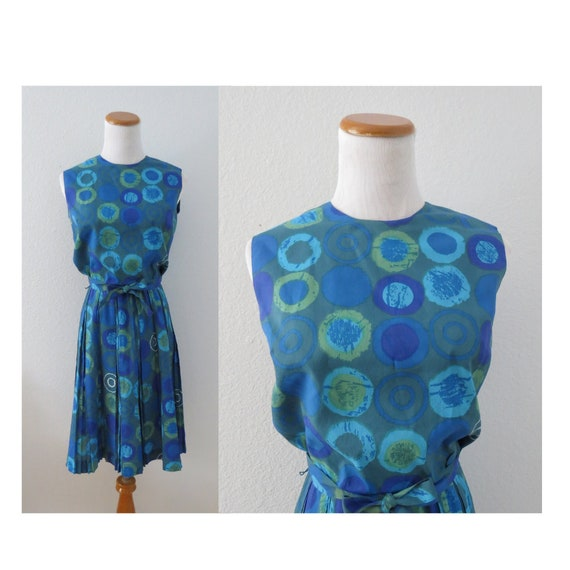 50s Day Dress Blue Abstract Print 1950s Dresses