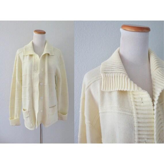 Cream Cardigan Sweater Vintage Womens Knit