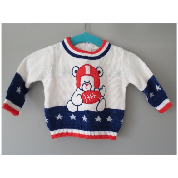 Vintage Baby Sweater Teddy Bear Football Sweater