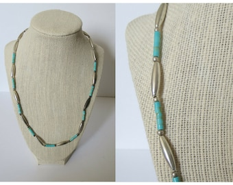 Silver Bead Necklace Turquoise Beaded Necklace Southwestern Western Southwest Bohemian Boho Hippie Jewelry
