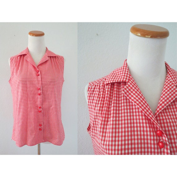Red Gingham Blouse Sleeveless Check Top