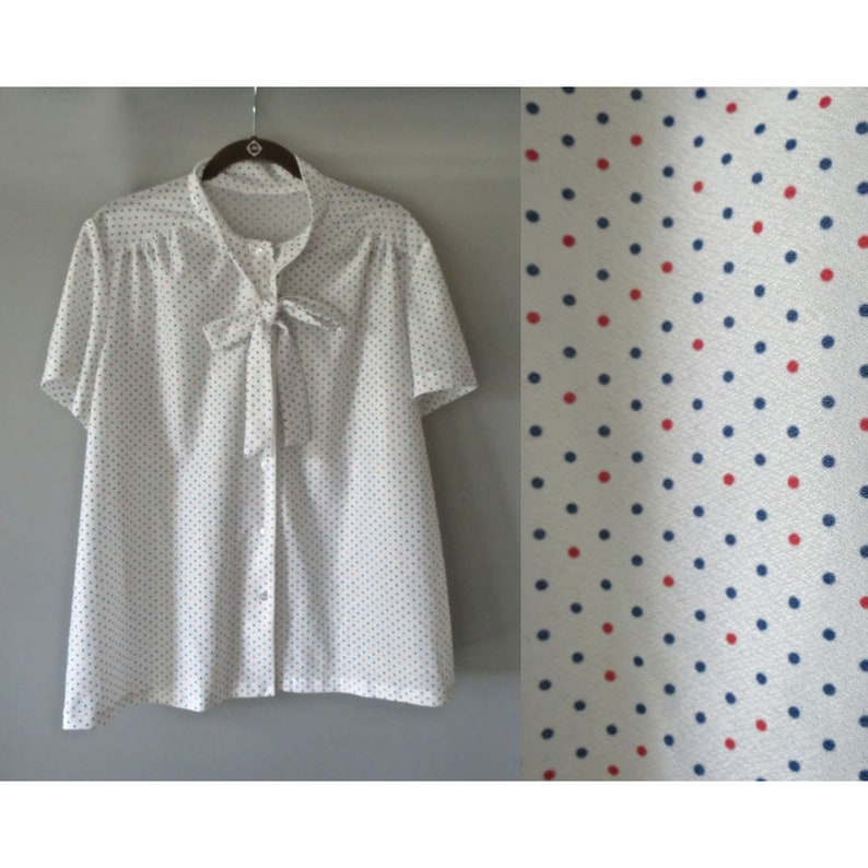 281338dd02 Polka Dot Bow Blouse Ascot Tie Top Pussybow Blouse White Red | Etsy