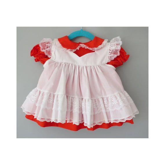 Vintage Baby Dress Red Lace Valentine Outfit