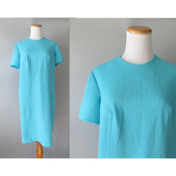 Blue Shift Dress / 60's Shift / Turquoise Blue Dress / Size Large L  XL / Mod Shift Dress / 1960's Dress / Retro Mid Century Dress