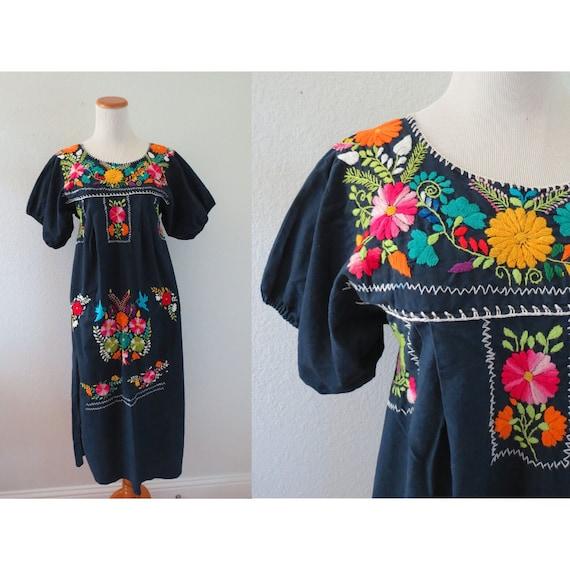 Mexican Embroidered Dress Blue Oaxacan Sundress
