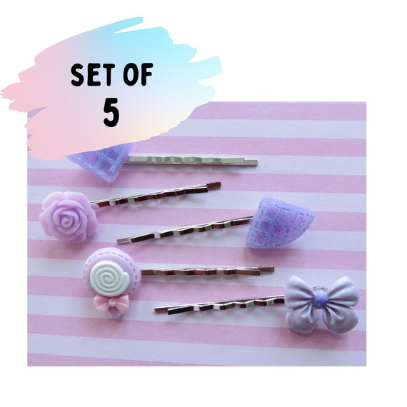 Kawaii Hair Clip Set Pastel Purple Barrettes