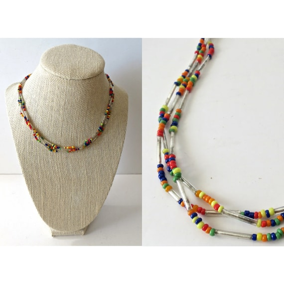 Seed Bead Choker Necklace / 90's Beaded Choker / Rainbow Beaded Necklace / Native American Choker / 90's Jewelry