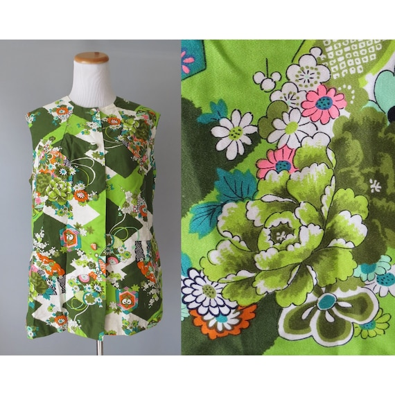 Mod Floral Blouse / 60's Sleeveless Top / Hawaiian Blouse / 1960's Floral Shirt / Size Large L / Flower Power Blouse / Hawaiian Top