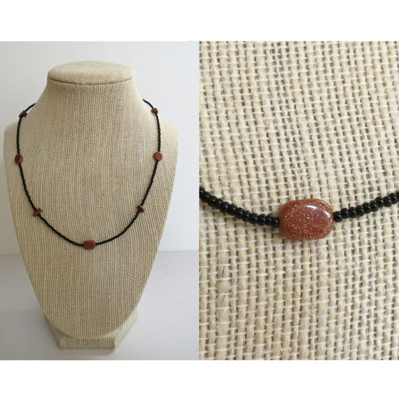 Goldstone Necklace / Goldstone Choker / Sparkly Crystal Necklace / Goldstone Beaded Necklace / Boho Choker