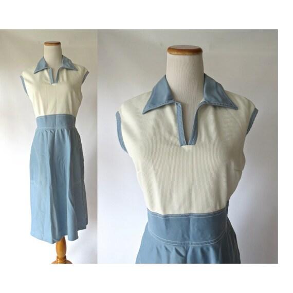 70's Mod Dress Blue & White Wing Tip Collar Mod Midi Dress Leslie Fay Size Small Medium