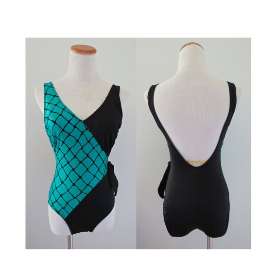 One Piece Swimsuit Sexy Plunging 80s Bathing Suit