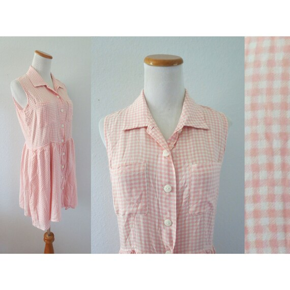 90s Romper Pink Gingham Rayon Playsuit