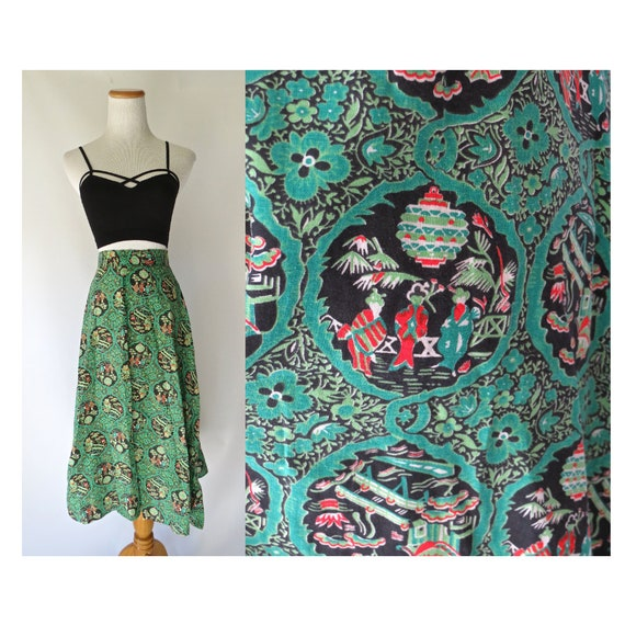 Girl's 50's Skirt / Girl's Novelty Print Skirt / Japanese Geisha Print Skirt / 1950's Circle Skirt / Green High Waisted Skirt