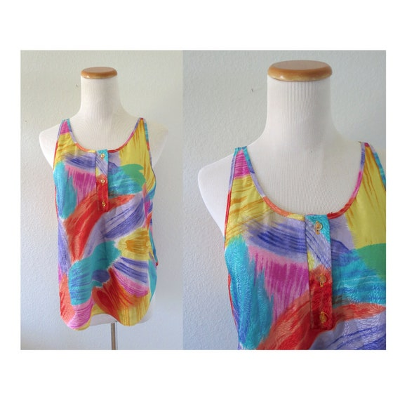 Rainbow Tank Top Colorful 90s Blouse