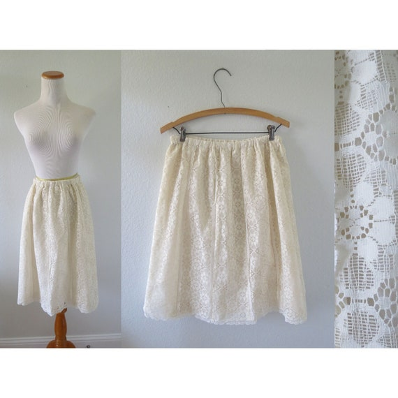 70s Cream Lace Midi Skirt Bohemian Skirt