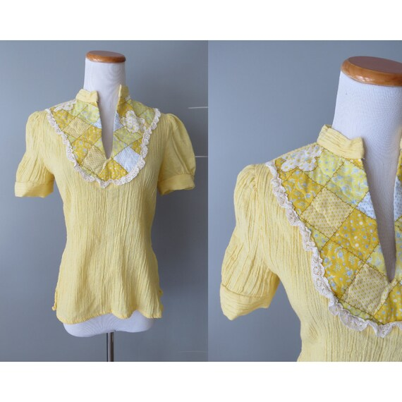Hippie Blouse / 70's Hippie Top / Patchwork Blouse / Size Small S / Folk Prairie Blouse / Yellow / Byer California
