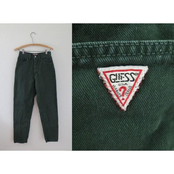 Vintage Guess Jeans Green Denim Pants 27 W