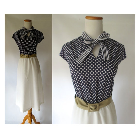 Polka Dot Secretary Dress / 70's Bow Tie Dress / Ascot Dress / 1970's Midi Dress / Navy Blue Polka Dot Dress / Size Large L / Pussybow Dress
