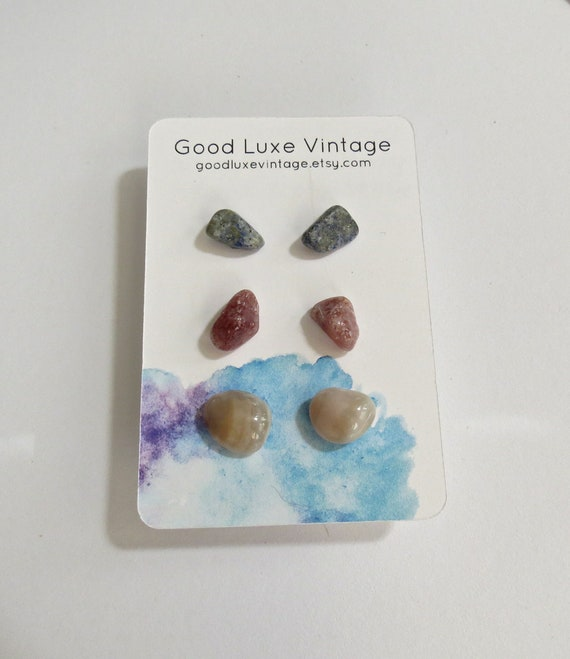 Crystal Earring Set Gemstone Studs Lapis Lazuli Pink Aventurine Agate Gift for Her Natural Minimalist Jewelry Boho Bohemian Hippie
