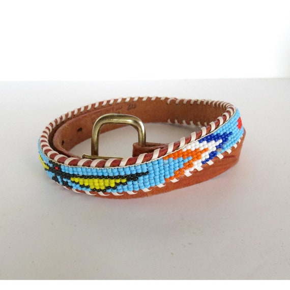 Native American Belt / Seed Bead Belt / Indian Belt / Thunderbird Belt / Leather Souvenir Beaded Belt / Size Small XS