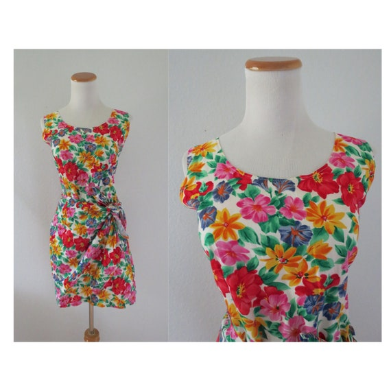 Flower Print Dress 80s Wrap Mini Dress
