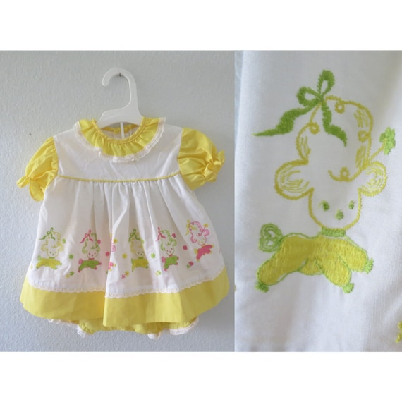 Vintage Baby Dress 60s Girls Spring Outfit Set