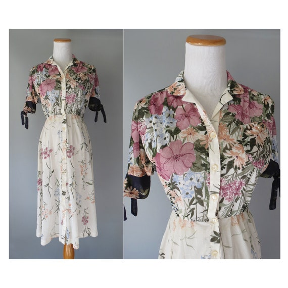 Sheer Floral Dress / 70's Shirtdress / Bohemian Floral Dress / 1970's Blouson Dress / Size XS / Boho Floral Midi Dress