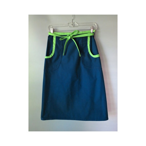 Vintage Navy Wrap Skirt 70's High Waisted Blue Green A-line Midi Skirt 1970's Color Block Skirt with Pockets Size Medium Preppy