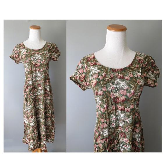90's Floral Midi Dress / All That Jazz Dress / Rayon Dress / 1990's Casual Dress / Grunge Floral Dress / Size Small