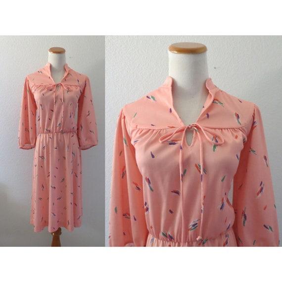 Secretary Dress Peach Midi Office Dress
