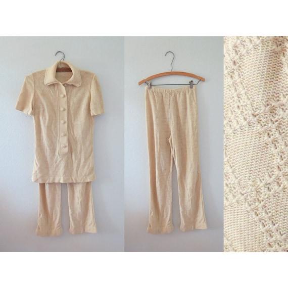 70s Crochet Pants Knit Bellbottoms Top Set