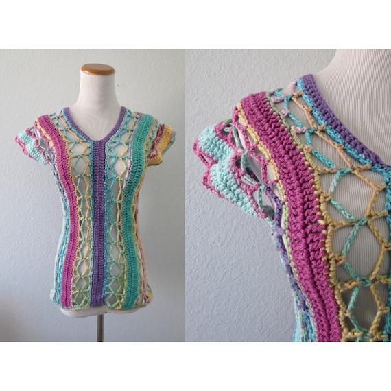 Pastel Top Rainbow Blouse Knit Sweater Kawaii Rave