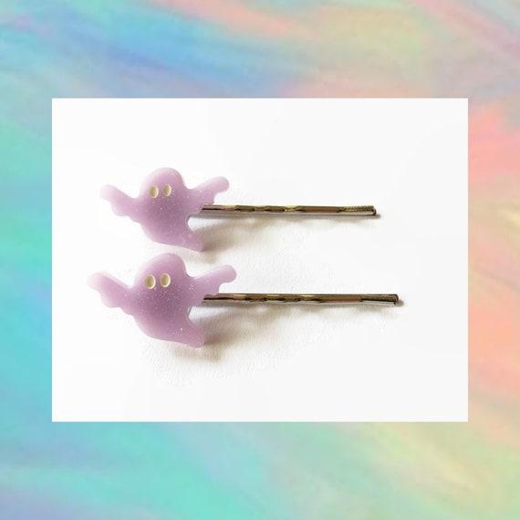 Ghost Bobby Pins Hair Clip Set Pastel Goth Kawaii Creepy Spooky Cute Halloween Hair Accessory Purple Sparkle Glitter