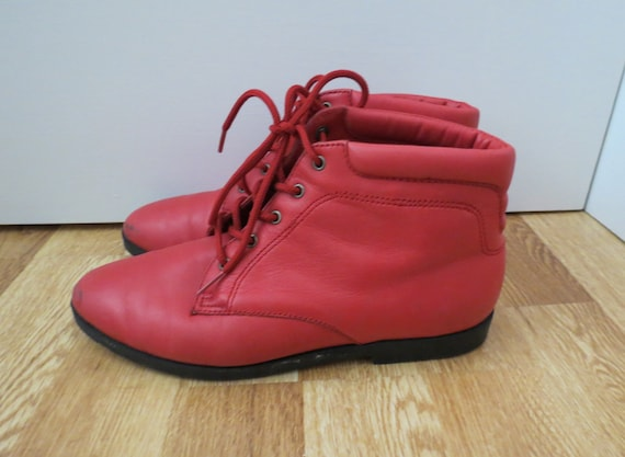 Red Ankle Boots Leather Lace Up Booties Size 5.5