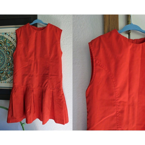 Girl's Mod Mini Dress 60's 1960's Drop Waist Pleated Skirt Tomato Red Orange Sleeveless Vintage Sears Small 5 6