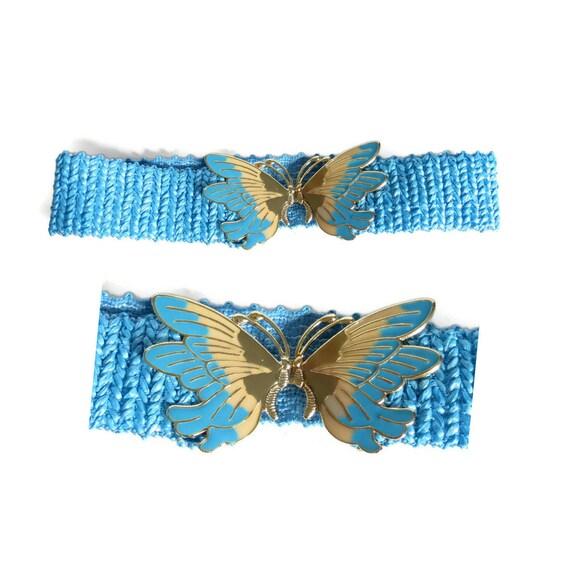 Blue Butterfly Belt / 80's Stretch Belt / Waist Belt / Cloisonne Belt Buckle / 1980's Stretchy Belt / Size Small